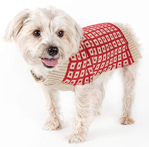 (PET LIFE 'Butterscotch Box Weaved' Heavy Cable Knitted Designer Fashion Turtle Neck Pet Dog Sweater, Small, Tan and Red)