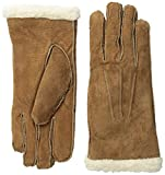 Isotoner Women's Sherpasoft Pigsplit Glove with Moccasin Stitch, Luggage, Large