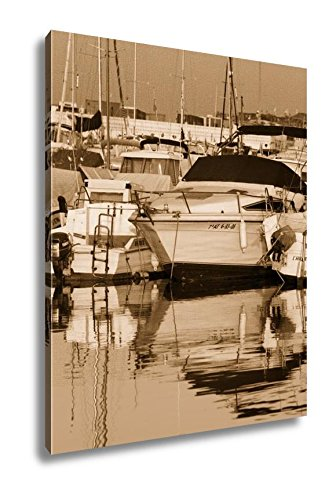 Ashley Canvas Boats Moored In Harbour Near Denia Spain, Wall Art Home Decor, Ready to Hang, Sepia, 20x16, AG6314725 by Ashley Canvas