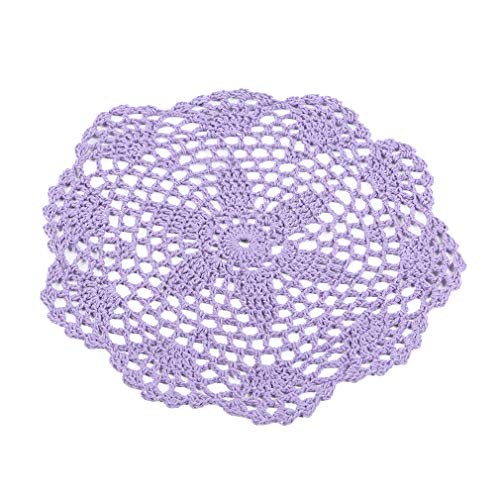 Firecolor Round Lace Doily Placemat Hand Crochet Floral Table Mat Home Accessories,Light Purple