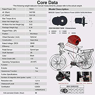 Bafang BBS02B 48V 750W Mid Drive Electric Bike Motor Ebike Kit de ...