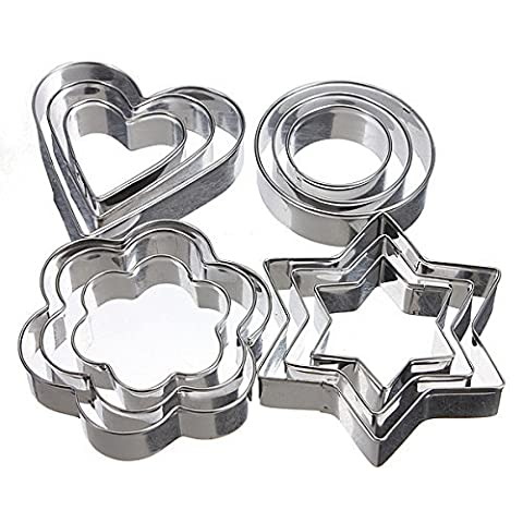 12Pcs Stainless Steel Cookies Cutter Mold Fondant Biscuit Cake Sugarcraft Mould (Walmart Snowflake Teddy)