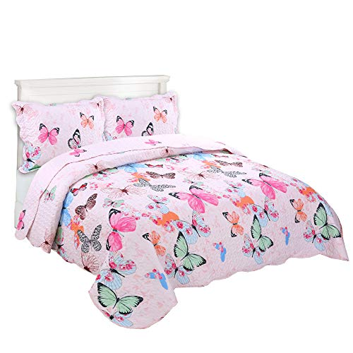MarCielo 2 Piece Kids Bedspread Quilts Set Throw Blanket for Teens Boys Girls Bed Printed Bedding Coverlet A72 Butterfly (Full/Queen(98''x90'')) (Bedding Childrens Quilts)