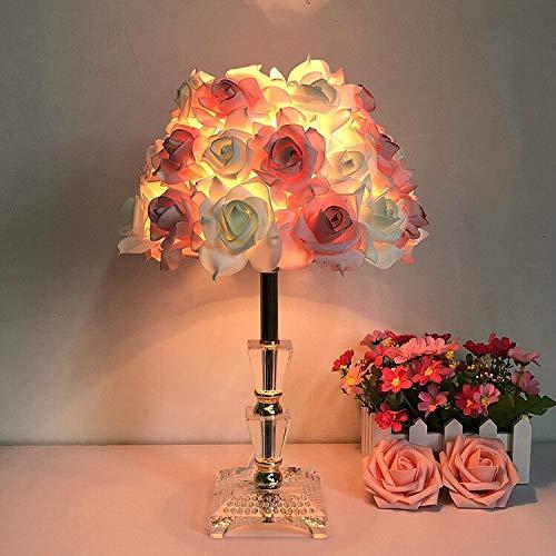 MACUH Home Lámpara de Flor Rosa roja Lámpara de Mesa Blanca ...