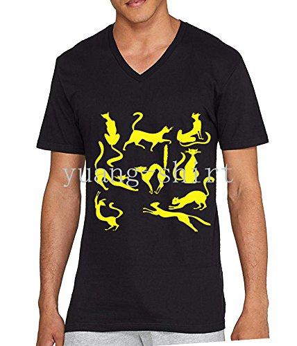 Summer Mens Ninja Cat Cartoon Cotton V-Neck T-Shirt: Amazon ...