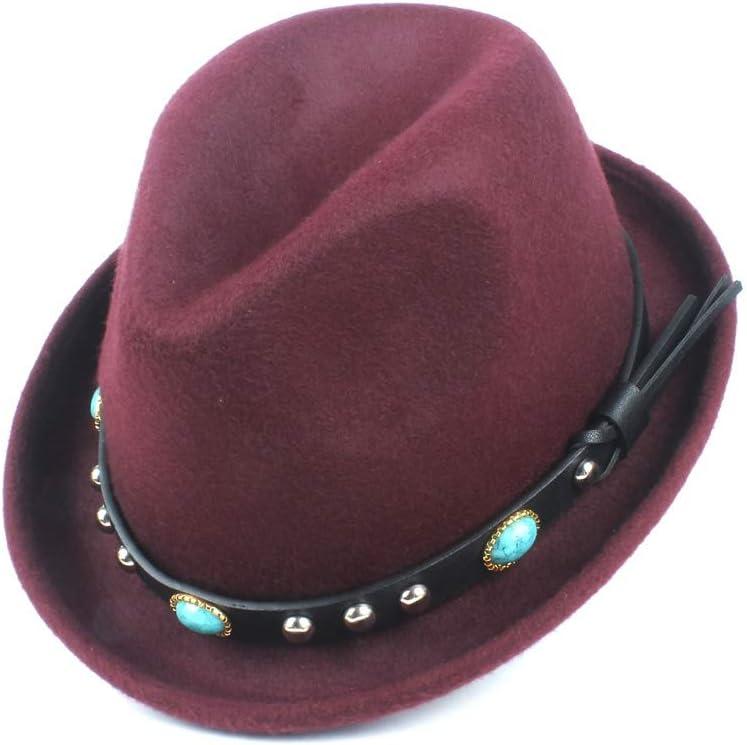 ZHANGBIN 2109 Fedora Sombrero nuevo sombrero de fieltro de lana para hombre nuevo sombrero casual turquesa remache decoración moda mujer jazz sombrero (color rojo vino, tamaño: 56-58 cm)