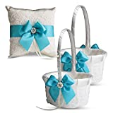 Alex Emotions Ivory Ring Bearer Pillow and Basket Set | Lace Collection | Flower Girl & Welcome Basket for Guest | Handmade Wedding Baskets & Pillows (Turquoise)