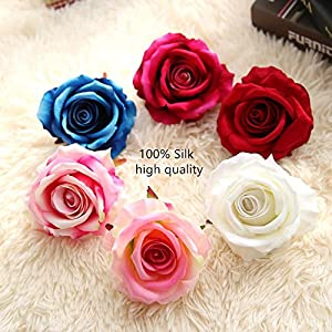 Kirinhomelife Artificial Fake Flowers Silk Big Roses Heads Flower Arrangements Real Touch Flannel Wedding Decorations Floral Table Centerpieces for Home Kitchen Garden Party Décor 2