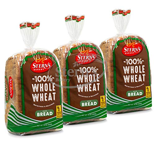 100% Whole Wheat Bread Sliced - 3 Pack - 16 oz. in line with Loaf | Delicious Sandwich Bread | Kosher Bread | Dairy & Nut Free | 2-3 Day Shipping | Stern's Bakery (3 Pack)