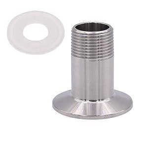 "HONGLU Sanitary Male Threaded Pipe Fitting to 1.5 INCH (OD 50.5mm Ferrule) TRI CLAMP (Pipe Size: 3/4"" NPT)"
