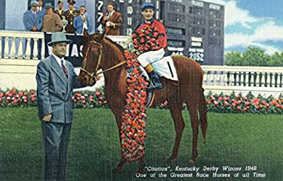 Kentucky - Kentucky Derby Winner Citation in 1948 (9x12 Collectible Art Print, Wall Decor Travel Poster)