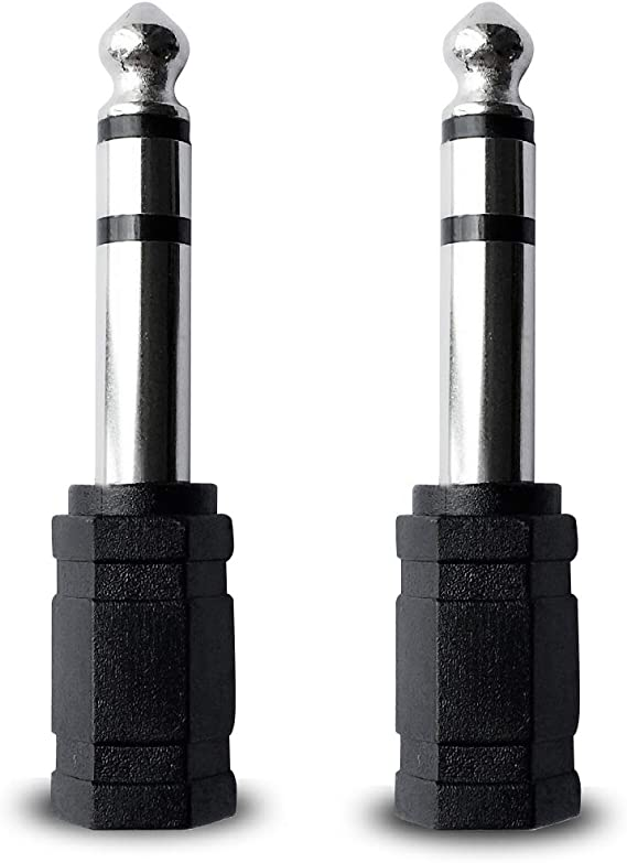 6.35mm Male to 3.5mm Female Headphone Stereo Audio Connector (2 Pack)
