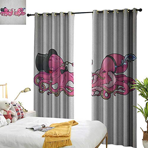 (WinfreyDecor Sliding Curtains Octopus Cartoon Art Illustration of Octopuses in Fun Retro Costumes at Party Vintage Style Home Garden Bedroom Outdoor Indoor Wall Decorations W96 x L108 Pink)