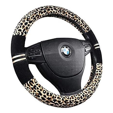 15 HONCENMAX Premio Felpa Morbido Veicolo Coprivolante Comodo Inverno Protezione per Volante dellautomobile Universale Diametro 38 cm Stampa Leopardo
