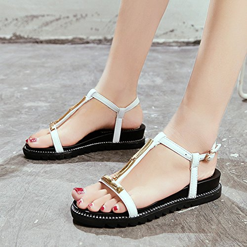 white Confortables Calzado de Simple YMFIE de Dedos Playa Plano Señoras Sandalias Moda Fondo Verano Antideslizante pXqq6Pwa