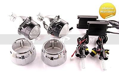 Pair of DDM Tuning Bi Xenon Retrofit Mini H1 Projectors V2 Premium,2.5in,W / DDM Slim 35W 55W HID Kit and Mini GG Shrouds,