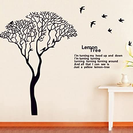 Amazon.com: Domire Black Lemon Tree Home Decor Mural Art Wall ...