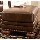 Ashley Furniture Signature Design - Chaling Accent Ottoman - Traditional and Weatherworn Style - Antique Brown