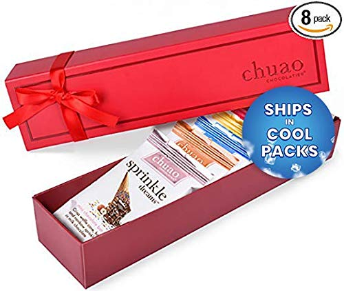 Chocolate Gift Set - Chuao Chocolatier Taste the Joy 8 Piece Gift Set (.39 oz mini bars) - Best-Selling Variety Pack - Gourmet Artisan Milk and Dark Chocolate Assortment - Free of Artificial Flavors (Artisan Chocolate)