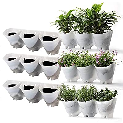 Worth Garden Self-Drippping Vertical Garden Wall Planters 9 Total Pockets Hanging Garden Planter | White (3-Pack) Planter for Garden, Home, Wall, Indoor/Outdoor #4210 Amazing 3-Year Warranty: Garden & Outdoor