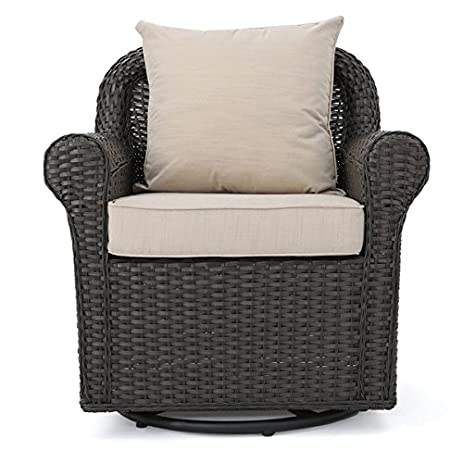 amazon com amaya outdoor wicker swivel rocking chair with cushion