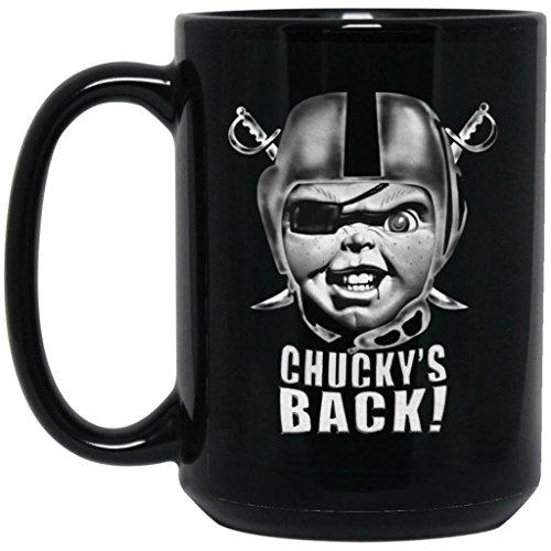 Las Vegas Raiders Coffee Mug Oakland Raiders Coffee Mug Chuckys Back 15 oz Black Ceramic Cup Great for Tea and Hot Chocolate NFL AFC National Football League Perfect Gift for any Raider Fan