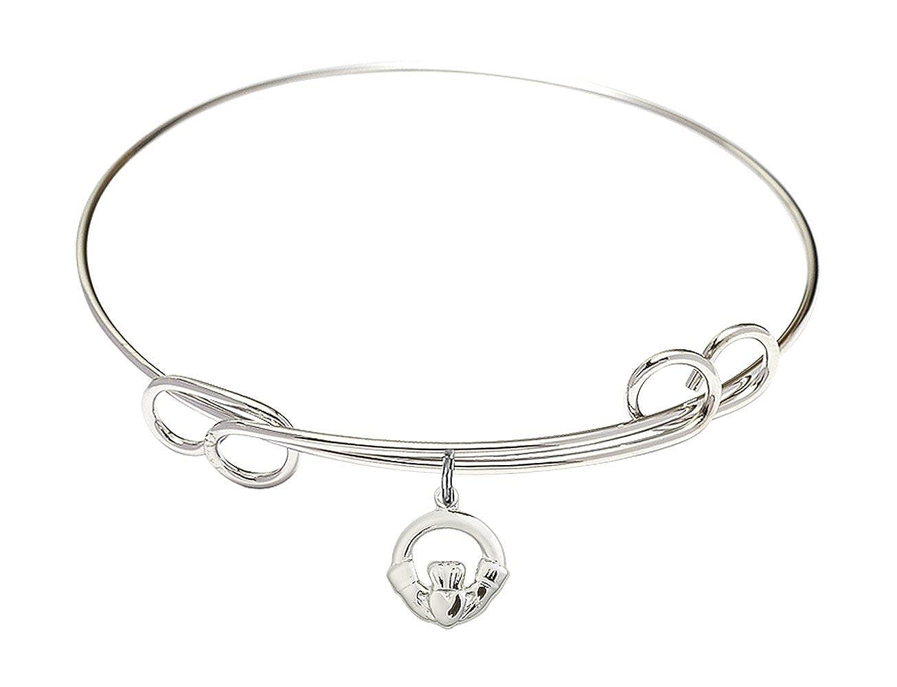 DiamondJewelryNY Double Loop Bangle Bracelet with a Claddagh Charm.