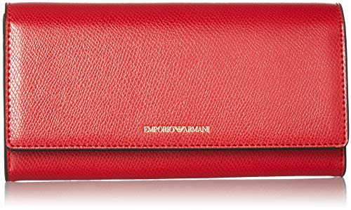 Large Closure Armani Wallet Flap Closure Black Wallet Emporio Flap Women's With Large Red With pwA4AgSx