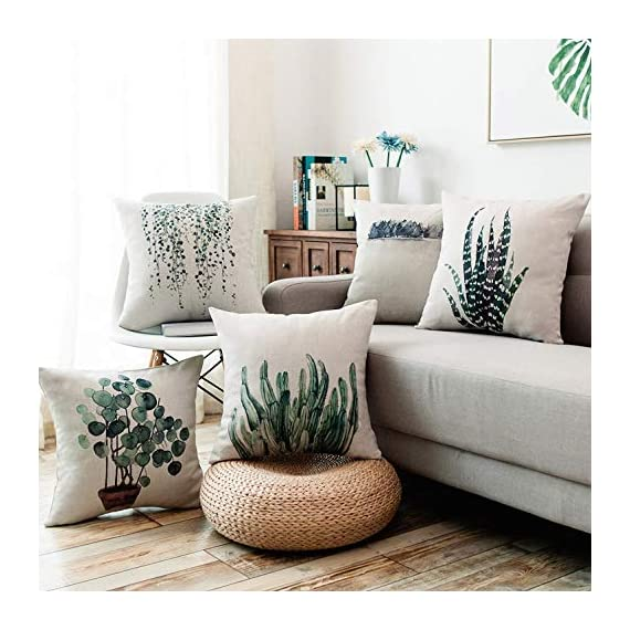 YeeJu Set of 4 Green Plant Throw Pillow Covers Decorative Cotton Linen Square Outdoor Cushion Cover Sofa Home Pillow Covers 18x18 Inch - ELEVATE YOUR ROOM DECOR! Let these attractive green plants throw pillow covers add a freshness, dynamic, fashionable and cozy feel to your life atmosphere. Definitely these amazing 18X18 Inches throw pillow covers will be your Home Highlights! YOUR COMFORT IS OUR TOP NOTCH! With fantastic moisture absorption and wet dissipation, our 100% natural cotton linen is the perfect fabric for cushion cover or sofa throw pillow cases. As the premium comfort eco-friendly material, it offering the most restful relaxation, breathable cool touch in summer and warm touch in winter. DETAILS HIGHLIGHT THE QUALITY! Soft, breathable, textured made with color matching, invisible zipper, allows easy insertion and removal of pillow inserts. All fabric edges are sewn with overlock stitch to prevent fray and ensure the cushion case holds shape over time.Printed with healthy and environment friendly water-based ink, unfading, no stimulation to skin. - patio, outdoor-throw-pillows, outdoor-decor - 51YsvssOAUL. SS570  -
