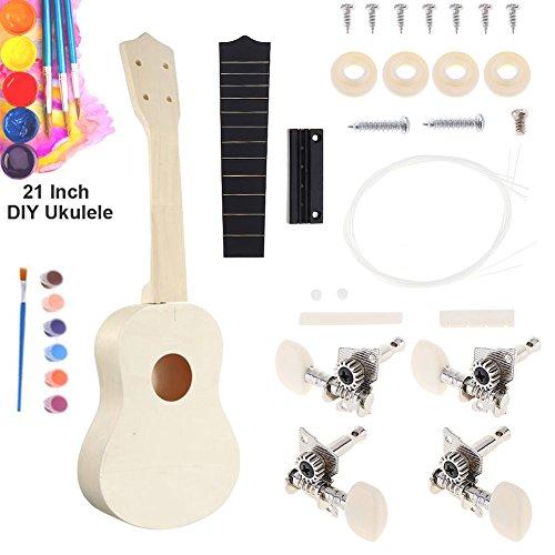 Fun DIY Ukulele Build Your Own Ukulele Soprano Hawaii Ukulele Kit Assembly for Beginner Kids Amateur Instrument Musical Toy