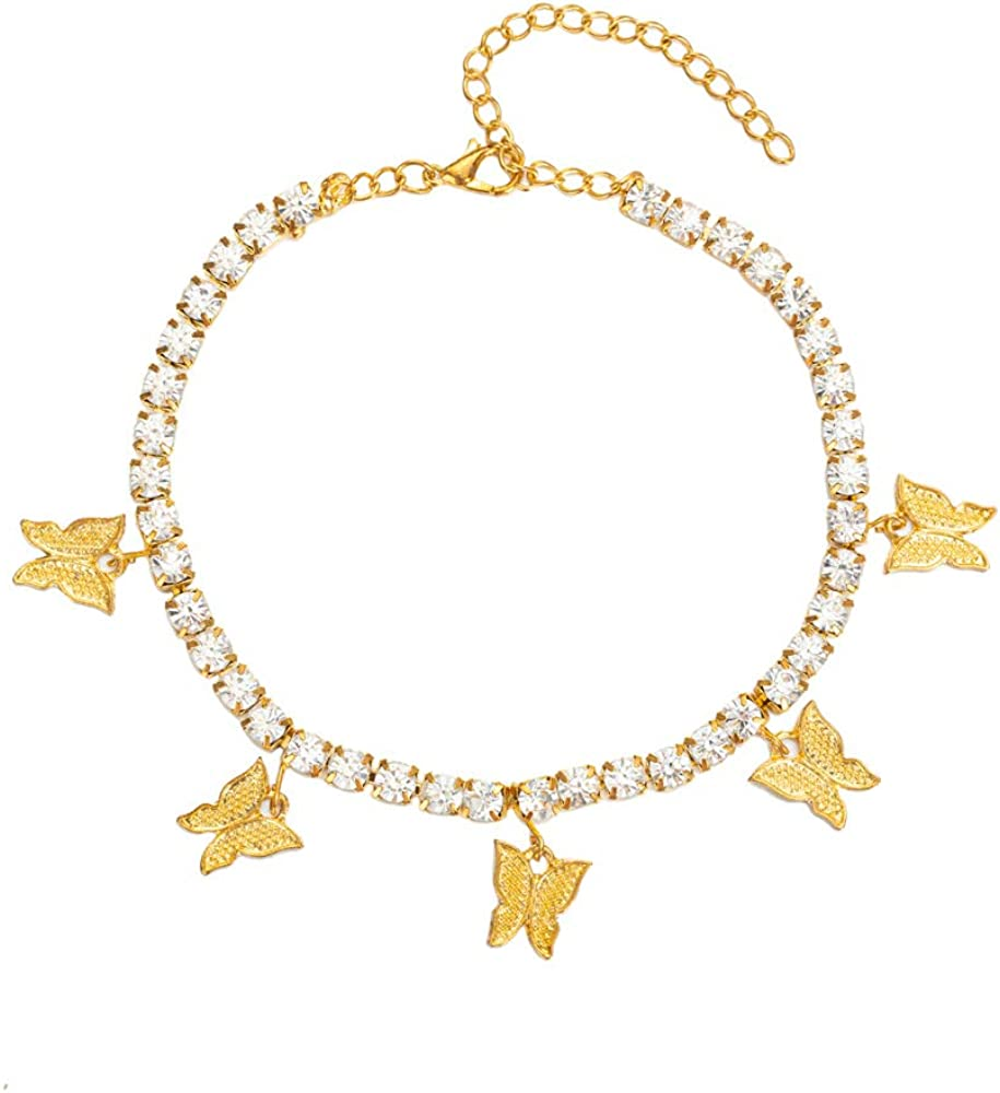 Butterfly Anklet for Women Teen Girls, 18K Gold / White Gold Plated Rhinestone Inlay Chain Tennis Ankle Bracelet with Extension