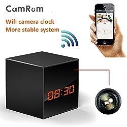 CamRomHD 720P P2P Wifi Pinhole Hidden Nanny Alarm Clock Camera with IR Night Vision H.264 SP8830