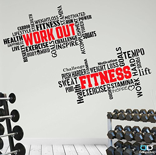 2 Large Pro Workout Fitness Motivational Wall Decals Gym Quotes. Excellent Value! by DesignDivil