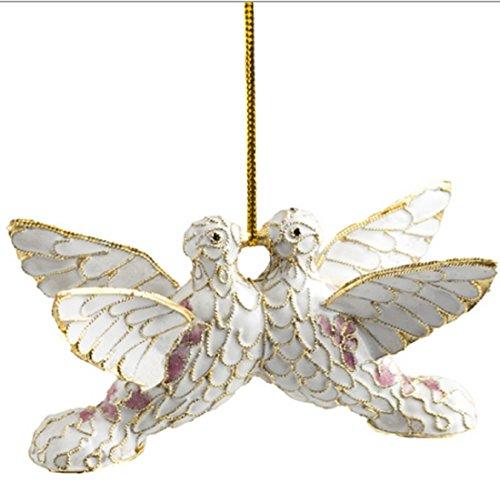 Cloisonne Christmas Tree - Kissing Doves Cloisonne Ornament, Enamel on Copper