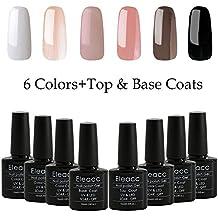 Eleacc 8pcs 10ml Soak Off UV LED Gel Nail Polish Nail Art Gelpolsih 6 Colors + Base Top Coat Manicure Set (S6BT-CA-2)