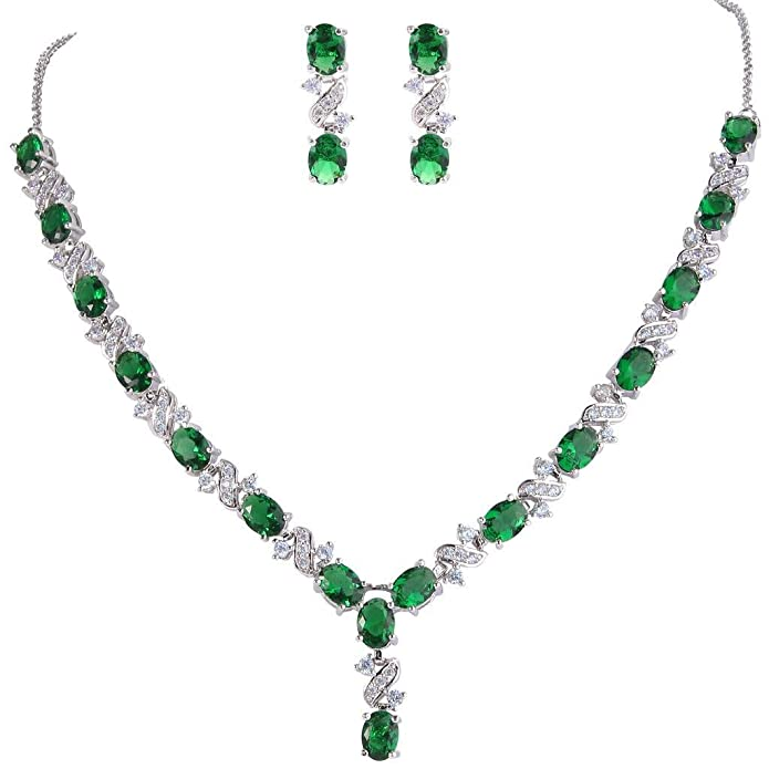 Clearine Juegos de Joyas de Mujer Cristales Óvalos En Forma de Bolita Infinito Collar y Pendientes para Novia Boda Fiesta Elegante Verde