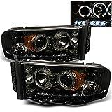 2003 dodge ram 1500 headlights - For 2002-2005 Dodge Ram 1500 | 2003-2005 Ram 2500 3500 Smoke Dual Halo Projector LED Headlights Pair Set