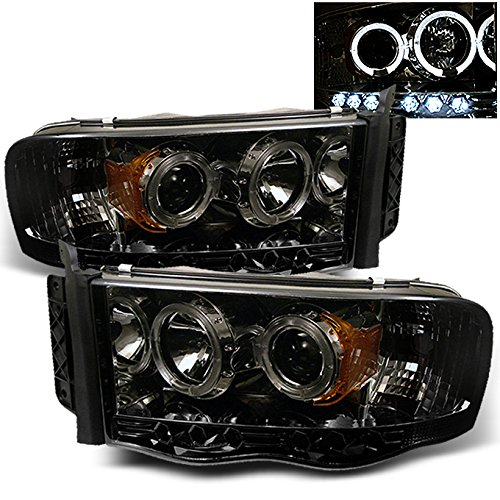2002-2005 Dodge Ram 1500 | 2003-2005 Ram 2500 3500 Smoke Dual Halo Projector LED Headlights Pair Set