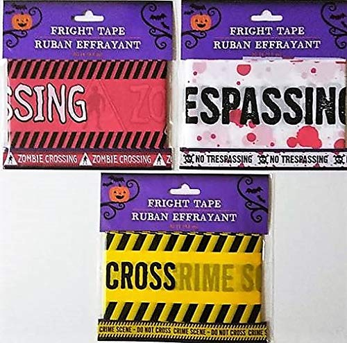 (HALLOWEEN 3 PACK 30 FT. FRIGHT TAPE DECORATIONS NO TRESPASSING, ZOMBIE & CRIME SCENE OUT OF)