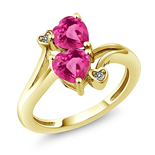 Gem Stone King 1.63 Ct Heart Shape Pink Created Sapphire 10K Yellow Gold Ring (Size 6)