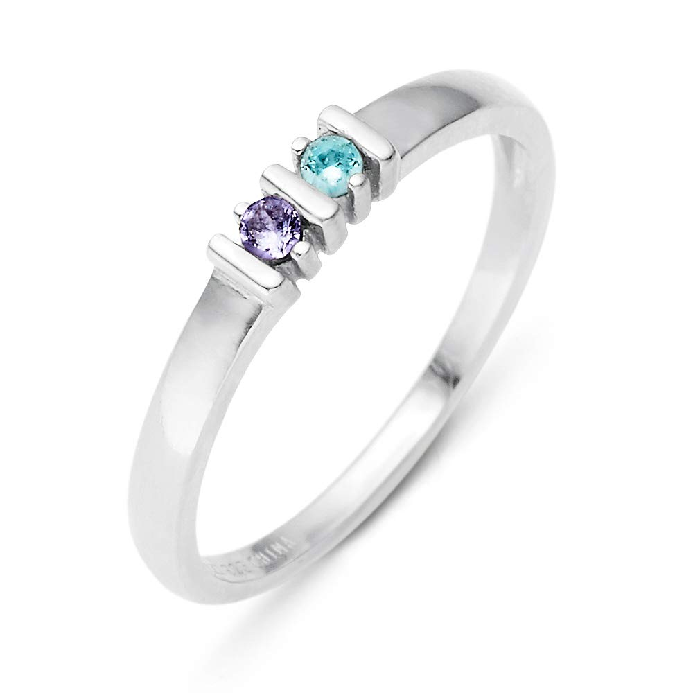 2 Simulated Stone Silver Eternity Ring