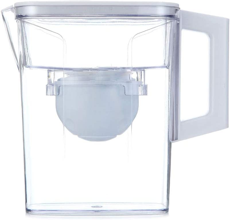 ((1)内蔵フィルターエレメントを含む4つのフィルタ要素を持つフィルターカートリッジ、BPAフリー、と透明なホーム水フィルター水差し、アルカリ水フィルター水差し(2.1L)、白