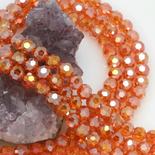 Crystal Faceted Round Beads Chinese (72 Pcs Chinese Crystal Glass Loose Beads Faceted Round 8mm Loose Spacer Orange Quartz AB)