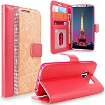 Galaxy S8 Plus Case, Cellularvilla [Diamond Jewel] Embossed Flower Design Premium Pu Leather Wallet Case [Card Slots] [Stand Feature] Flip Cover For Samsung Galaxy S8 Plus (Peach Pink Bling)