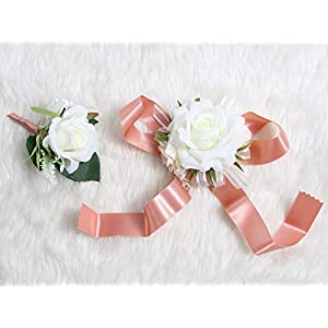 Wedding Prom Wrist Corsage Single Silk rose and Boutonniere Set Pin Ribbon Included (White theme) 25