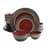 Gibson Elite Caf Versailles 16-piece Double Bowl Red Dinnerware Set For Sale