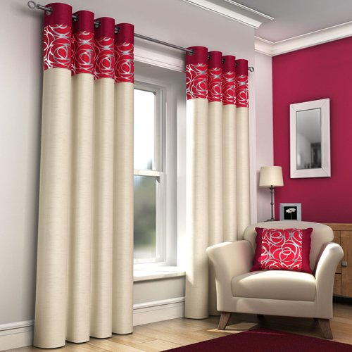 RING TOP FULLY LINED PAIR EYELET READY MADE CURTAINS RED BLACK ...