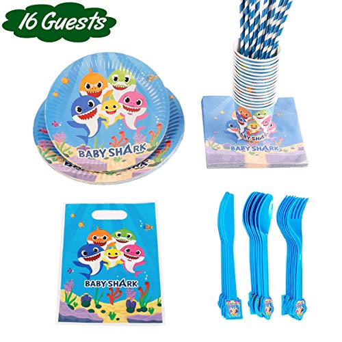 Shark Party Supplies for Baby -Flatware, Spoons, Plates, Cups, Straws,Napkins Birthday Party Favor Pack Set for Kids Boy -