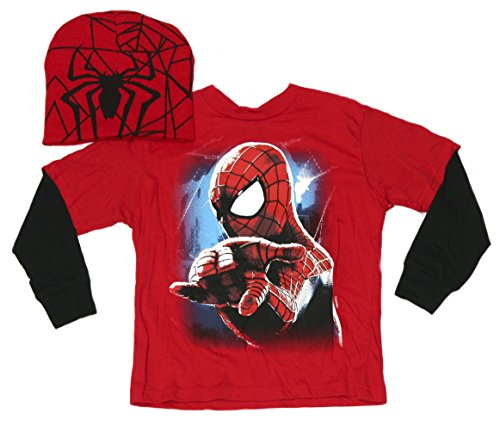 Marvel Big Boys Long Sleeve T-shirt and Beanie Fashion Combo