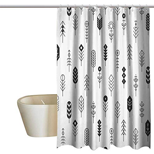 SKDSArts Shower Curtains Disney Modern Decor,Native American Like Tribal Signs with Geometric Squares Rounds and Lines,Black and White 60